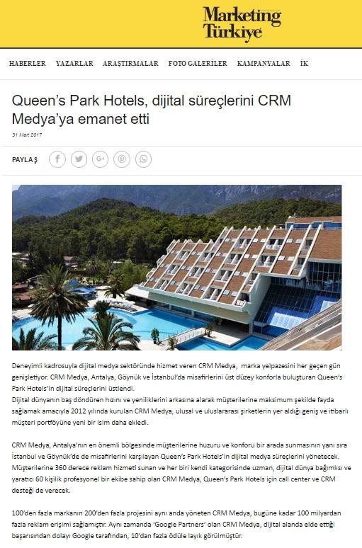 Queen's Park Hotels Dijital süreçlerini CRM Medya'ya emanet etti