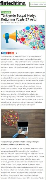 """""""Türkiye'de sosyal medya kullanımı yüzde 37 arttı""""fintechtime"""
