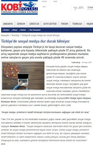 """""""Türkiye'de sosyal medya dur durak bilmiyor""""KOBİ POSTASI"""